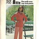Misses 70s Pullover Top, Pants Sewing Pattern Butterick 3881 Size 8