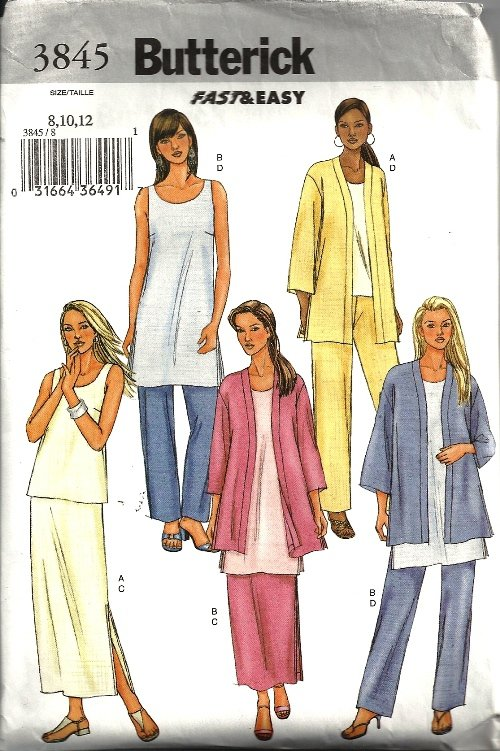 Misses Jacket, Top, Skirt Sewing Pattern Butterick 3845 Size 8, 10, 12