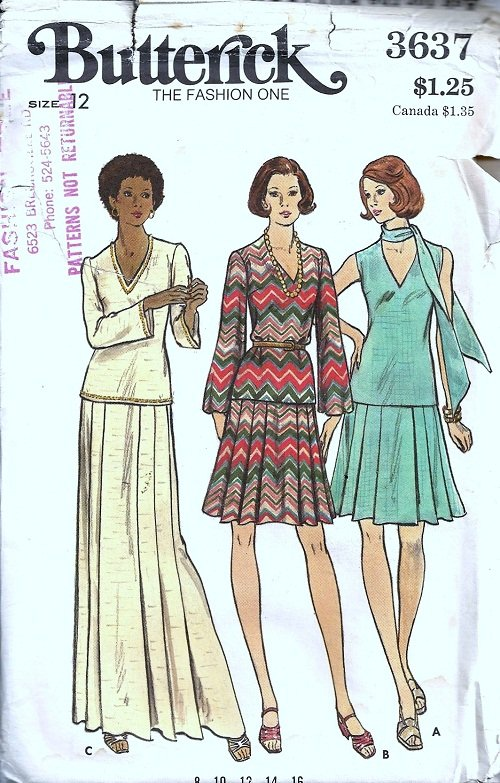 Misses 70s Top, Skirt, Scarf Sewing Pattern Butterick 3637 Size 12