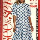 Misses 80s Drop Waist Dress Sewing Pattern Butterick 3860 Sz 6, 8, 10