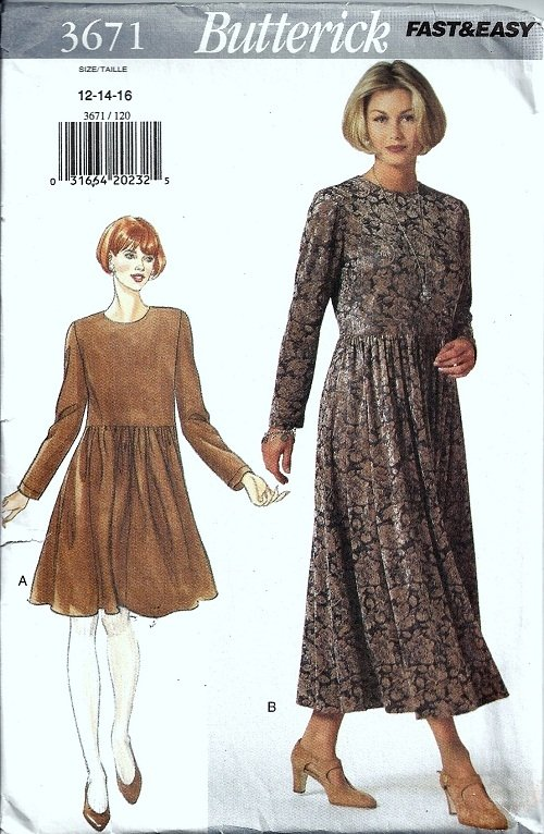 Misses Loose Dress 90s Sewing Pattern Butterick 3671 Size 12