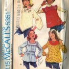 McCalls 5351 Girls 70s Tops Vintage Sewing Pattern Size Small 6, 8