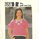 Girls Easy Top 70s Vintage Sewing Pattern Butterick 4144 Size 12