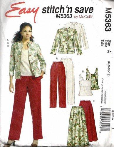 Misses Jacket Top Skirt Pants Sewing Pattern McCalls 5363 6, 8, 10, 12