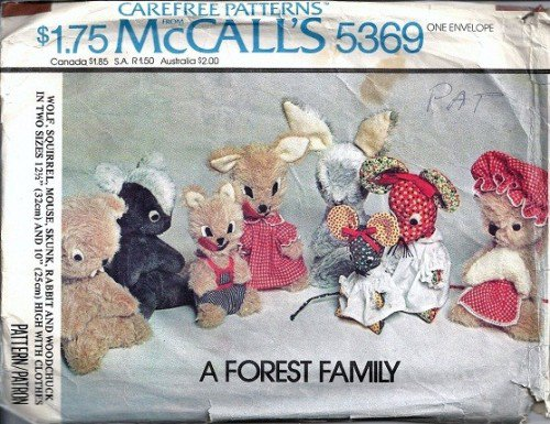 McCalls 5369 Forest Family 6 Stuffed Toys Vintage Sewing Pattern
