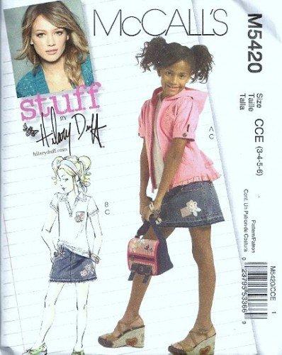 McCalls 5420 Girls Jacket, Top, Skirt Sewing Pattern Size 3, 4, 5, 6