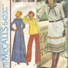 Misses 70s Dress, Top Vintage Sewing Pattern McCalls 5423 Size 12