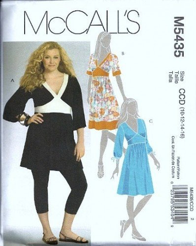 McCalls 5435 Misses Tunic, Dress Sewing Pattern Size 10, 12, 14, 16