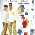 McCalls 5511 Men, Misses, Dog Sleepwear Sewing Pattern Size Lg, XLg