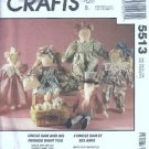 McCalls 5513 Stuffed Bunny, Cat, Bear, Doll, Uncle Sam Sewing Pattern