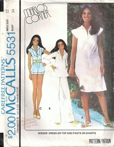 McCalls 5531 Misses 70s Dress, Top, Pants, Shorts Sewing Pattern Size 12