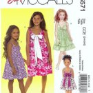 McCalls 5571 Girls Dress, Sundress Sewing Pattern Size 3, 4, 5, 6