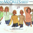McCalls 5637 Misses Knit Tops 70s Vintage Sewing Pattern Size 14, 16