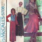 McCalls 5708 Misses Skirt Blouse Vest Pants Vtg Sewing Pattern Size 12