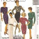 McCalls 5728 Misses 90s Dress, Drape Sewing Pattern Size 14, 16, 18