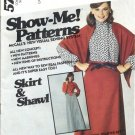 McCalls 5757 Misses Skirt Shawl Vintage Sewing Pattern Size 10, 12, 14