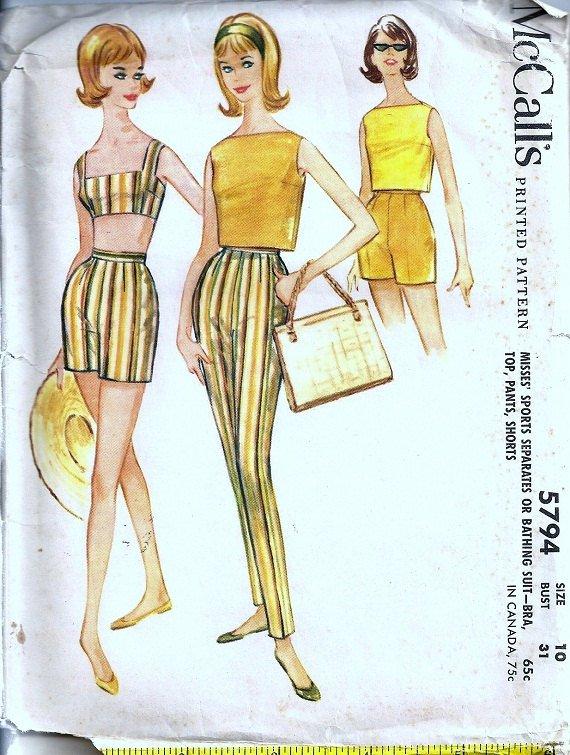 McCalls 5794 Misses Bra Top Swimsuit, Shorts, Pants 60s Vintage Sewing Pattern Size 10