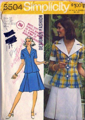 Simplicity 5504 Misses 70s Two Piece Dress Sewing Pattern Size 12