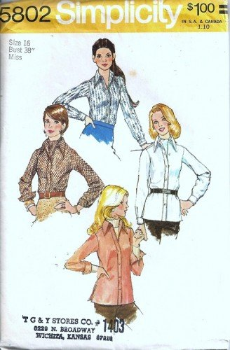 Simplicity 5802 Misses Shirt Tie 70s Vintage Sewing Pattern Size 16