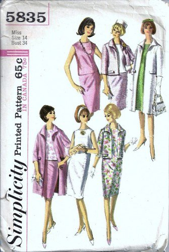 Simplicity 5835 Misses Dress Coat Skirt 60s Sewing Pattern Size 14