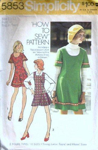Simplicity 5853 Miss Mini Dress, Jumper 70s Sewing Pattern Size 11/12
