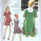 Simplicity 5853 Miss Mini Dress, Jumper 70s Sewing Pattern Size 11/12