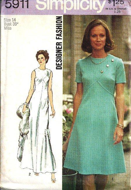 Simplicity 5911 Misses Designer Dress 70s Sewing Pattern Size 14