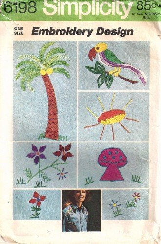 Simplicity 6198 Embroidery Design 70s Transfer Mushroom, Bird, Flowers