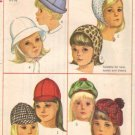 Simplicity 6274 Girls Hat 1960s Sewing Pattern Head Size 21 3/4