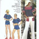 Simplicity 6280 Miss Short Top, Low Rise Pants Vtg Sewing Pattern Size 8