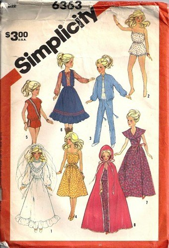 Simplicity 6363 Barbie Doll Clothes Vintage Sewing Pattern Bride, Cape