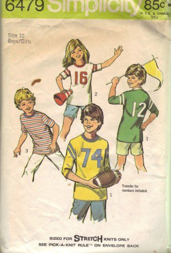 Simplicity 6479 Boys, Girls 70s Sports T Shirt Sewing Pattern Size 10