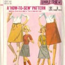 Simplicity 6594 Girls 60s Skirts Vintage Sewing Pattern Size 14
