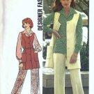 Simplicity 6604 Misses Vest Pants Blouse 70s Sewing Pattern Size 14