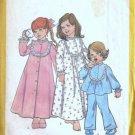 Simplicity 6687 Girls Nightgown Pajamas Robe 70s Sewing Pattern Size 4