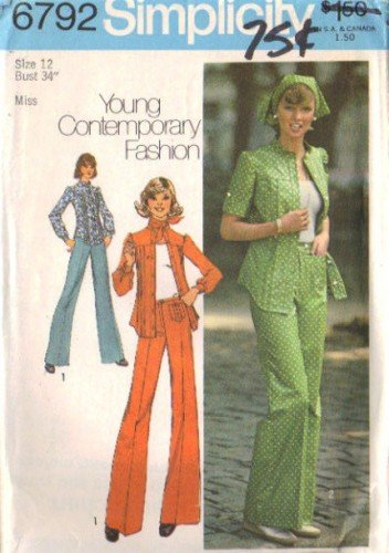 Simplicity 6792 Misses 70s Shirt, Pants, Scarf Sewing Pattern Size 12