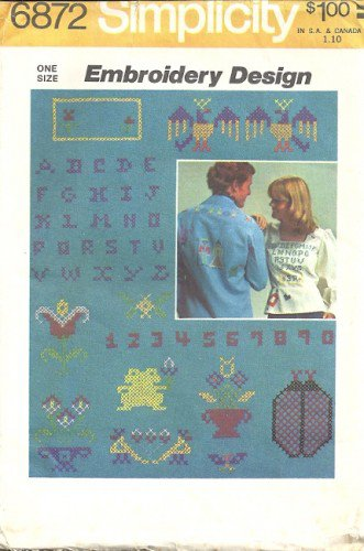Simplicity 6872 Embroidery Design 70s Cross Stitch Transfer Pattern