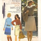 Misses 70s Skirt, Bag Vintage Sewing Pattern Simplicity 7077 Size 10