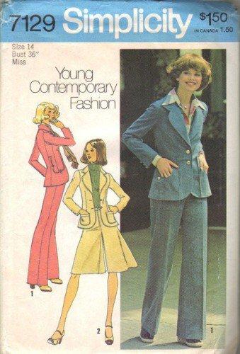 Simplicity 7129 Misses Jacket, Pantskirt, Pants Sewing Pattern Size 14