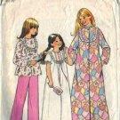 Simplicity 7202 Girls Pajamas, Nightgown, Robe Sewing Pattern Size 7