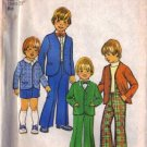 Simplicity 7204 Boys 70s Suit Jacket, Pants, Shorts Sewing Pattern Size 4