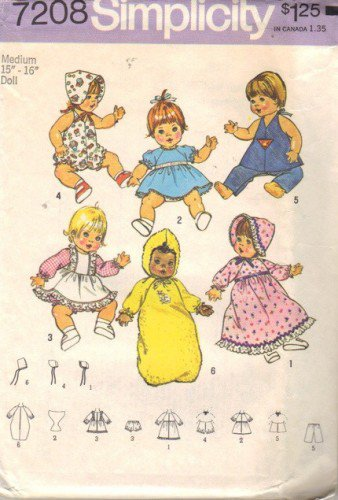 70s Baby Doll Clothes Sewing Pattern Simplicity 7208 15-16 Inch