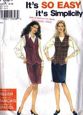 Simplicity 7301 Misses Slim Skirt, Vest Sewing Pattern Size 6, 8, 10