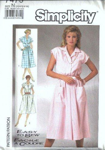 Simplicity 7475 Misses Dress Vintage Sewing Pattern Size 10, 12, 14