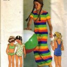 Girls 70s Sewing Pattern Swimsuit, Cover Up Size 10 Simplicity 7507