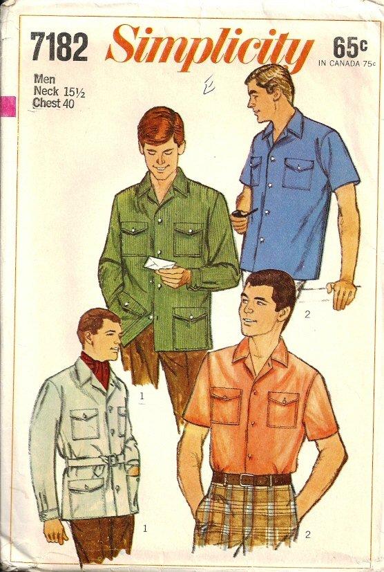 Simplicity 7182 Mans Shirt, Shirt-Jacket Vtg Sewing Pattern Chest 40