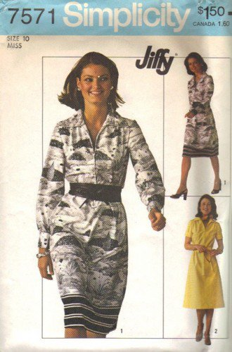 Simplicity 7571 Misses 70s Dress Vintage Sewing Pattern Size 10