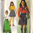 Girls 70s Skirt, Top, Scarf Sewing Pattern Simplicity 7732 Size 12