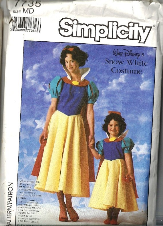 Disney Snow White Costume Misses Sewing Pattern Simplicity 40 Size Classy Disney Sewing Patterns