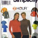 Simplicity 7842 Misses 2 Hr Knit Tops Sewing Pattern Size 6, 8, 10